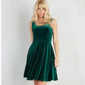 ModCloth- Fervour • Zesty Festivities Velvet Dress